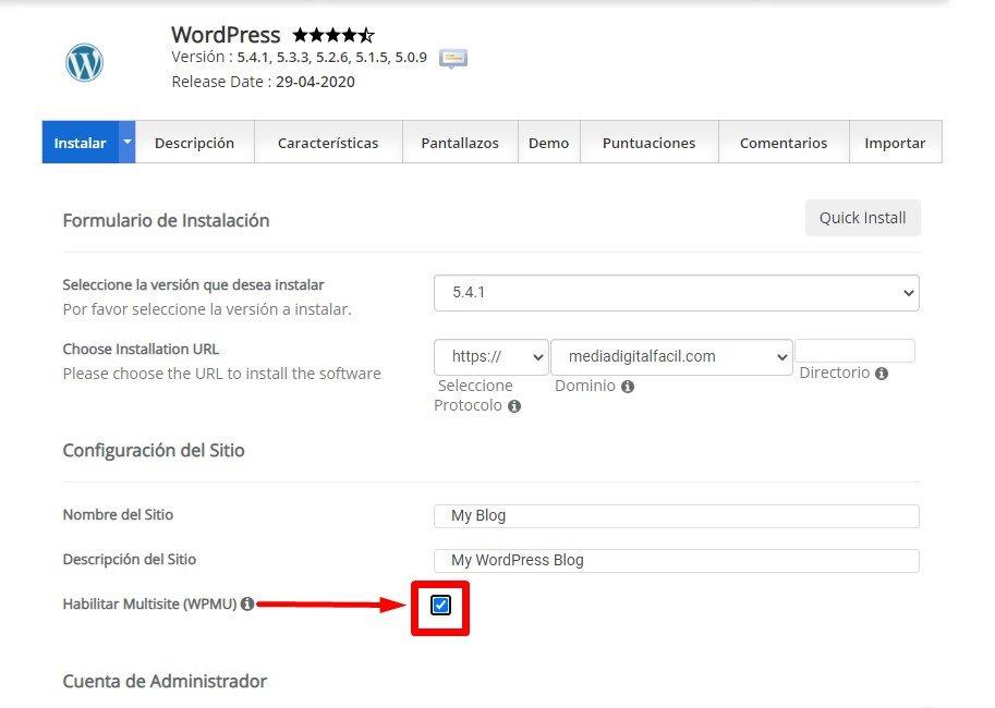 Habilitar WordPress Multisite